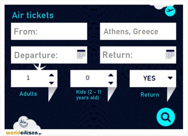 worldcitizen.gr air tickets searching form to Athens, Greece.