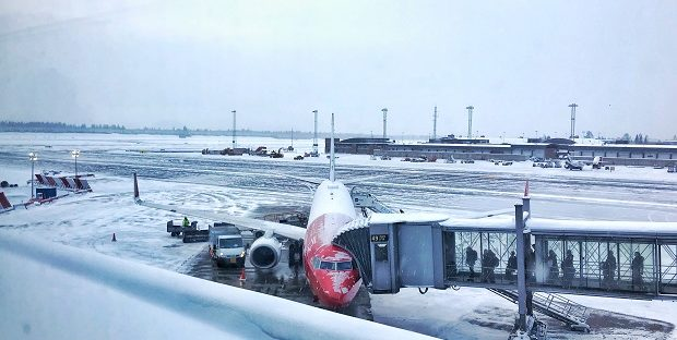 Oslo, Norway - Gardermoen airport snowed.