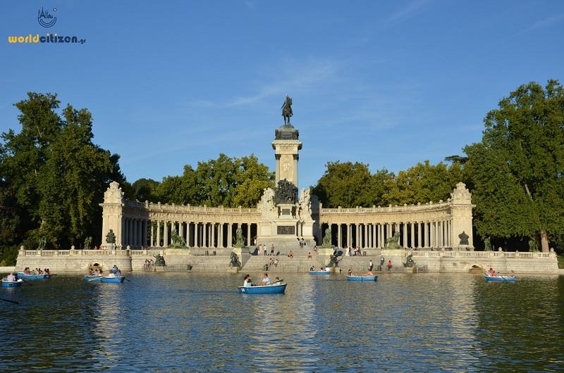 Retiro Park in Madrid, Spain.