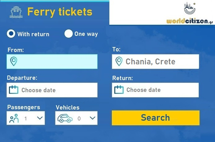 worldcitizen.gr Ferry tickets to Chania, Souda port in Crete search engine form.