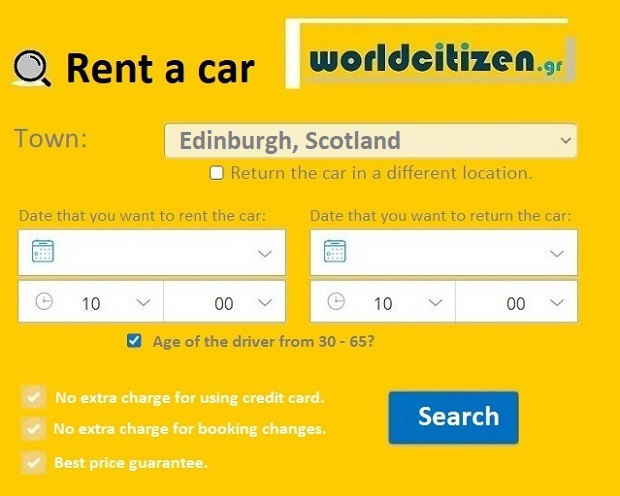 Rent a car to Edinburgh in Scotland.