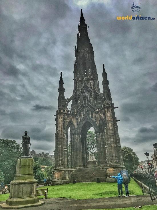 Scott monument, at Princess Street in Edinburgh, Scotland.